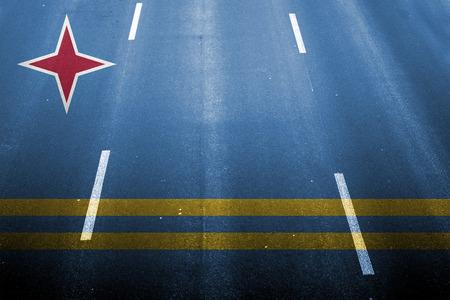 aruba flag: fast road background with blending  Aruba flag