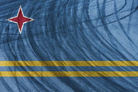 aruba flag: sport car circuit and tyre slides with blending  Aruba flag Stock Photo