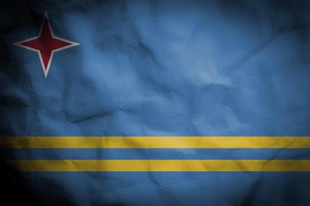 crinked paper background with blending  Aruba flag