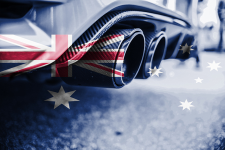 combustible: pollution of environment by combustible gas of a car with blending Australia flag