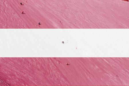 austria flag: winter ski theme with blending  Austria flag Stock Photo
