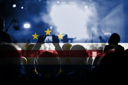 live music concert with blending Cape Verde flag on fans