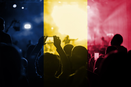 chad flag: live music concert with blending Chad flag on fans