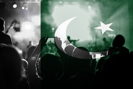 pakistan flag: live music concert with blending Pakistan flag on fans