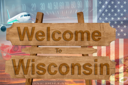wisconsin state: Welcome to Wisconsin state in USA sign on wood, travell theme Stock Photo