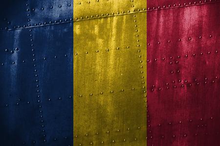 texutre in metallo o sfondo con bandiera Chad