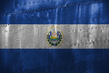bandera de el salvador: texutre de metal o de fondo con la bandera de El Salvador