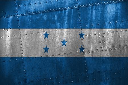 bandera honduras: texutre de metal o de fondo con la bandera de Honduras Foto de archivo