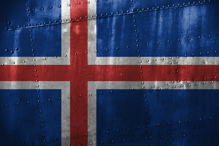 iceland flag: metal texutre or background with Iceland flag