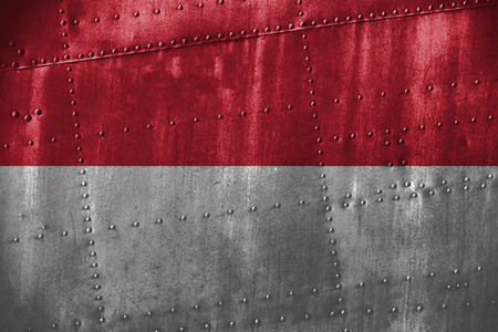 metal texutre or background with Indonesia flag