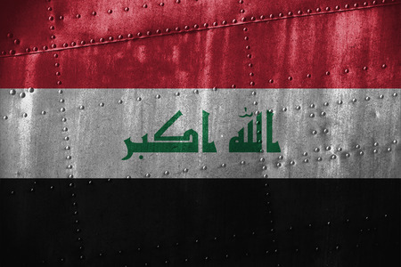 iraq flag: metal texutre or background with Iraq flag