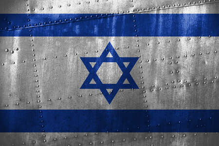 metal texutre or background with Israel flag