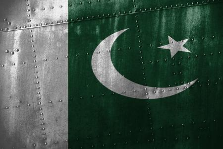 pakistan flag: metal texutre or background with Pakistan flag Stock Photo