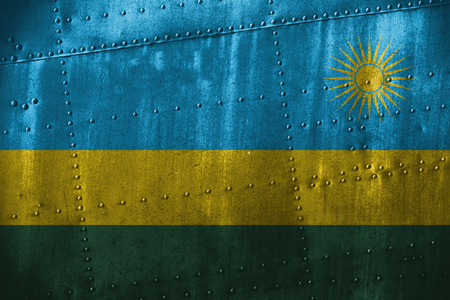 metal texutre or background with Rwanda flag Stock Photo