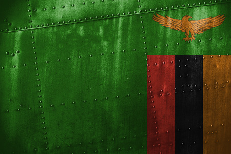 zambia flag: metal texutre or background with Zambia flag