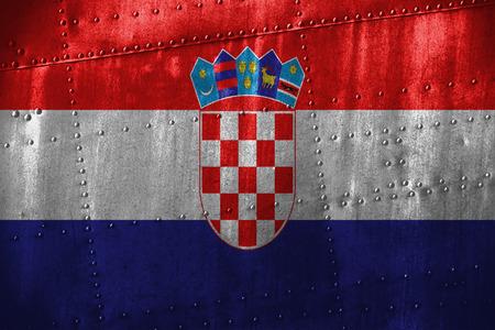 croatia flag: metal texutre or background with Croatia flag Stock Photo