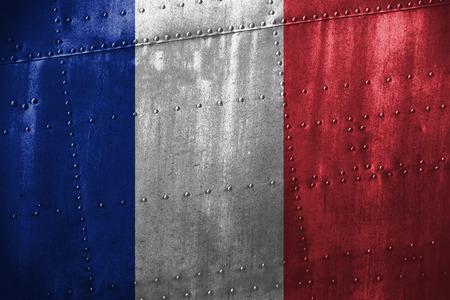 Metall Texutre oder Hintergrund mit Frankreich Flagge