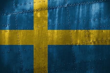 bandera suecia: metal texutre or background with Sweden flag