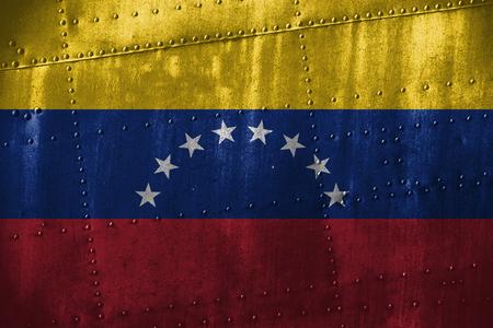 venezuela flag: metal texutre or background with Venezuela flag Foto de archivo