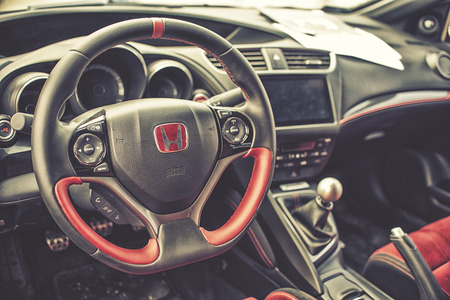 sterring: Wroclaw, Poland, May 28, 2016: Close up on Honda Civic sterring wheel on Motoshow on May 28, 2016 in Poland