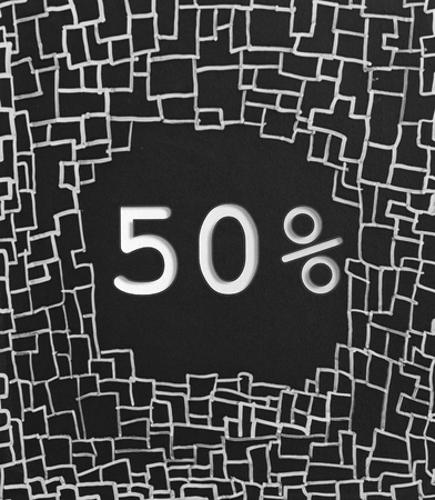 50  off: 50% OFF written text on black abstract background Stock Photo