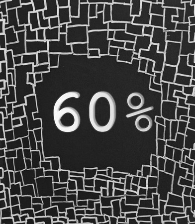 trade off: 60% OFF written text on black abstract background Stock Photo