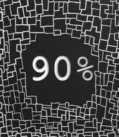 advertised: 90% OFF written text on black abstract background Stock Photo