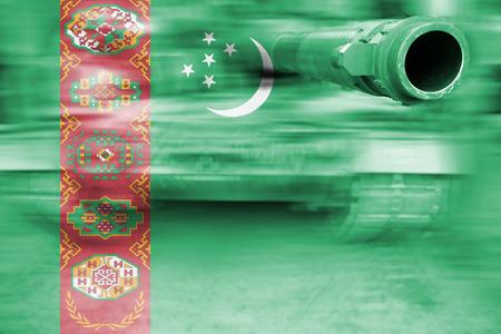 military strength theme, motion blur tank with Turkmenistan flag Stock Photo