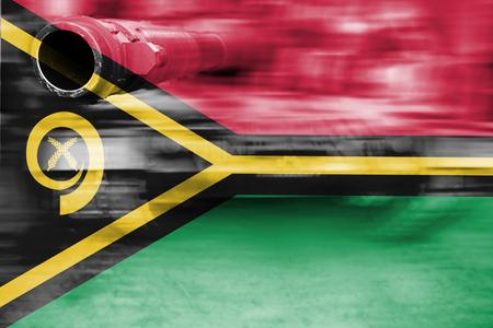 military strength theme, motion blur tank with Vanuatu flag Stock Photo