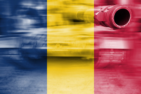 chad flag: military strength theme, motion blur tank with Chad flag Stock Photo