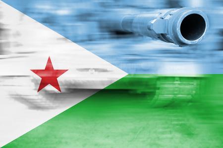 military strength theme, motion blur tank with Djibouti flag