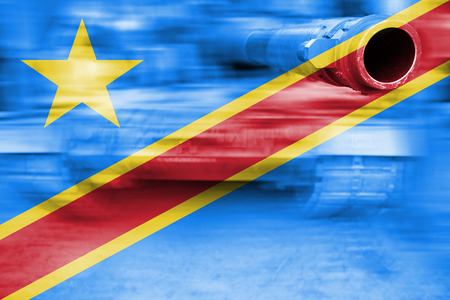 military strength theme, motion blur tank with DR Congo flag
