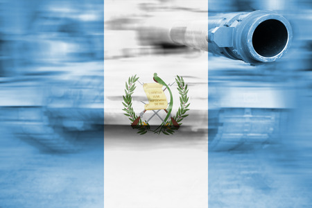 guatemala flag: military strength theme, motion blur tank with Guatemala flag