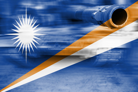 military strength theme, motion blur tank with Marshall Islands flag Stock Photo
