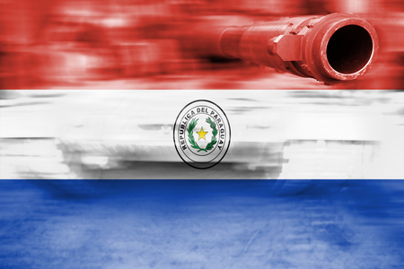 bandera de paraguay: military strength theme, motion blur tank with Paraguay flag