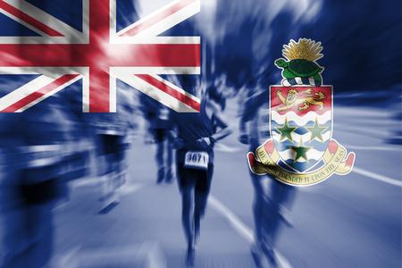 Marathon runner motion blur with blending  Cayman Islands flag