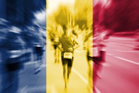 Marathon runner motion blur with blending  Chad flag Stock Photo
