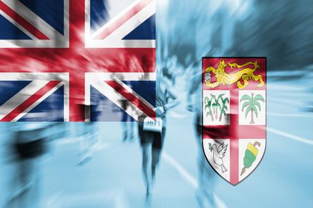 Marathon runner motion blur with blending  Fiji flag