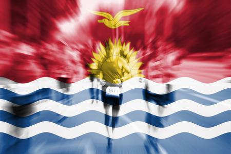 Marathon runner motion blur with blending  Kiribati flag