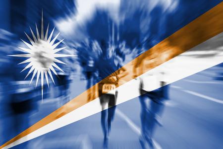Marathon runner motion blur with blending  Marshall Islands flag