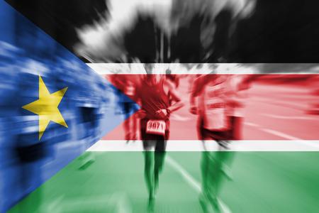 Marathon runner motion blur with blending  South Sudan flag