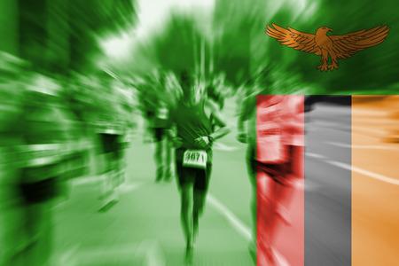 zambia flag: Marathon runner motion blur with blending  Zambia flag