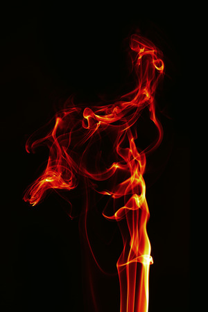 abstract fire: abstract single fire flame on black background
