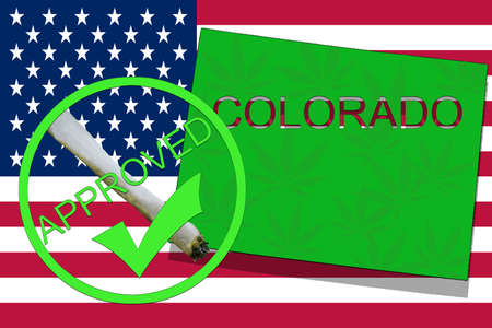 Colorado State on cannabis background. Drug policy. Legalization of marijuana on USA flag,