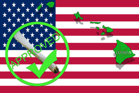 narcotic: Hawaii State on cannabis background. Drug policy. Legalization of marijuana on USA flag, Stock Photo