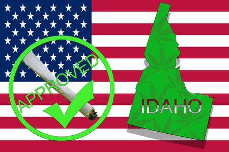 Idaho State on cannabis background. Drug policy. Legalization of marijuana on USA flag, Stock Photo