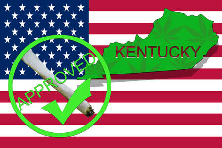 narcotic: Kentucky State on cannabis background. Drug policy. Legalization of marijuana on USA flag,