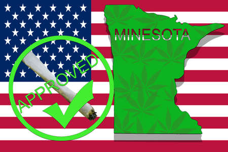 narcotic: Minesota State on cannabis background. Drug policy. Legalization of marijuana on USA flag,