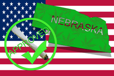 narcotic: Nebraska State on cannabis background. Drug policy. Legalization of marijuana on USA flag,