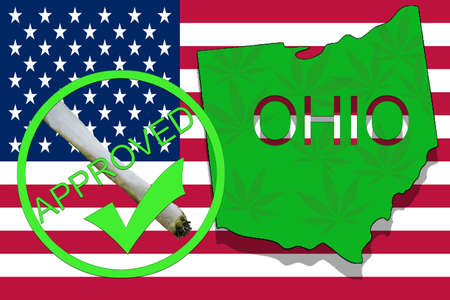 Ohio State on cannabis background. Drug policy. Legalization of marijuana on USA flag,